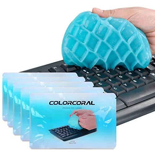 ColorCoral 粘着クリーナー キーボード 車内設備 掃除 スライム クリーナー クリーニングパテ 強力粘着 クリーニングゲル 隙間 汚れ ホコリ取り クリーニングゼリー ユニバーサルジェル 繰り返し使用 エコ 多用途 柔軟 甘めの香 70g*5 青色