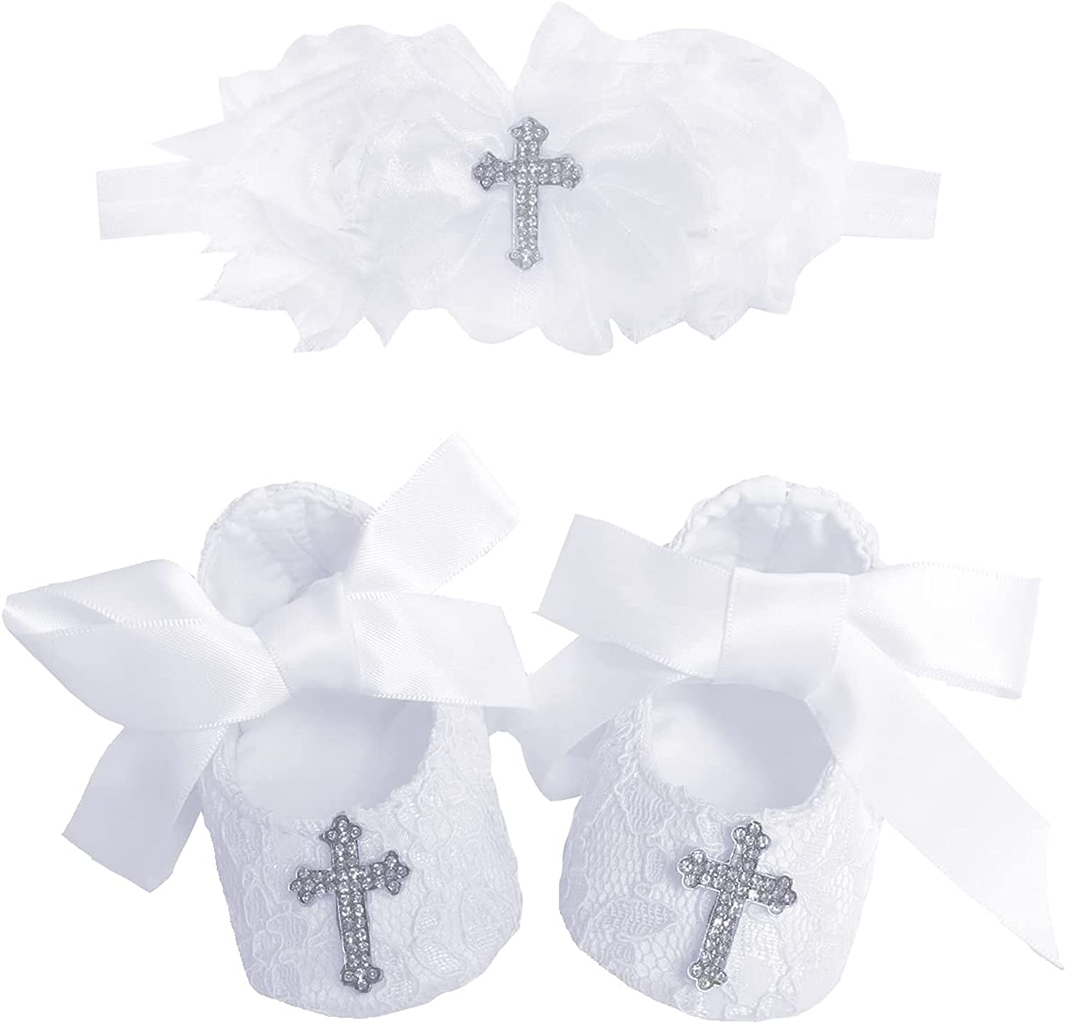 Bow Dream Baby Girl Baptism Christening Shoes Dedication Lace Reinstones with Headband