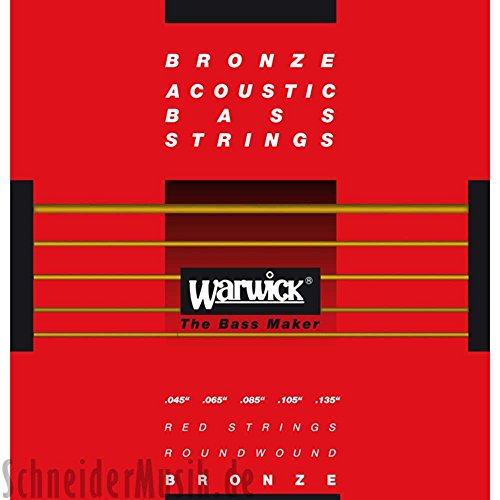 Warwick 35302 RED STRINGS Acoustic Bass (6-string) Bronze Roundwound, Long Scale 34''