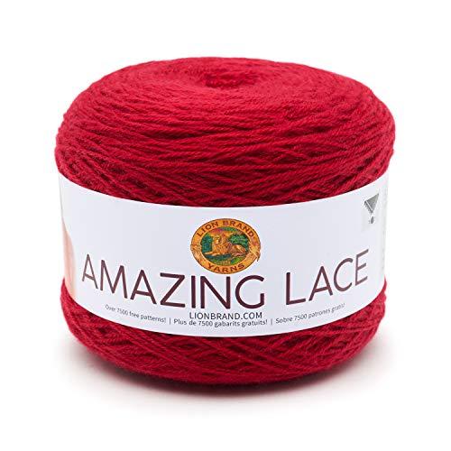 Lion Brand Yarn Company 213-113 Amazing Lace Yarn, Chevron Red, una madeja