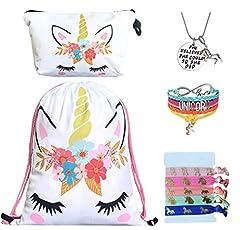 "Package Includes: 1 Unicorn Drawstring Bag, 1 Unicorn Makeup Bag, 1 Unicorn Charm Bracelet Jewelry, 1 Unicorn Pendant Necklace and 5pcs Unicorn Hair Ties. Size: Backpack - 15.5"" x 12; Makeup Bag - 8"" x 4.7""; Bracelet - Pull Adjustable String to Fit K..."