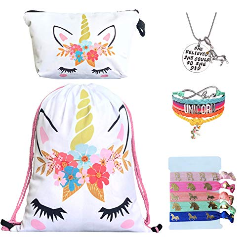Unicorn Gifts for Girls - Unicorn Drawstring Backpack/Makeup Bag/Bracelet/Inspirational Necklace/Hair Ties (White Flower)