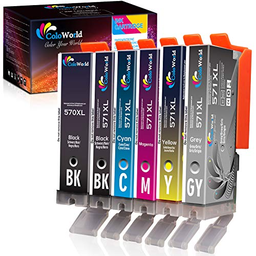 ColoWorld 570XL 571XL Cartuchos de Tinta Repuesto para Canon PGI-570 XL CLI-571 XL Multipack Compatible con Canon PIXMA MG7750 MG7751 MG7752 MG7753 TS9050 TS9055 TS8050 TS8051 Impresoras (6Paquetes)