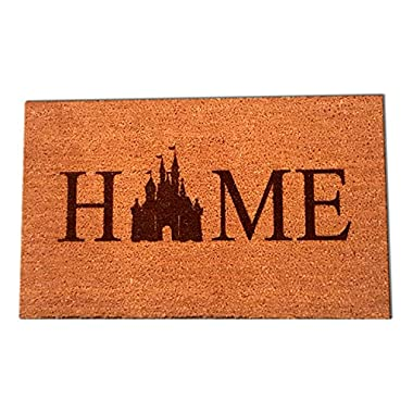 "Disney Castle Home Laser Engraved Coir Fiber Doormat 36"" x 24"" Large"