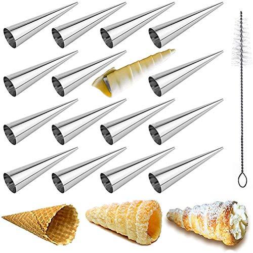 Calayu Set van 16 bakvormen, roestvrij staal, crème, hoornvormen, gevuld dessert, gebak, kegel, crème, broodjes, bakvormen, ijs, knapperige vorm