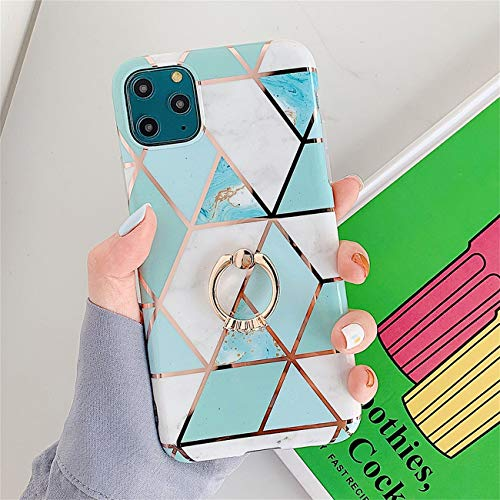 Bakicey iPhone 12 Pro Max Hulle iPhone 12 Pro Max Marmor Handyhulle mit 360 Grad Ring Stander Ultra Dunn Soft Silikon TPU Bumper Stosfest Case Anti kratzt Schutzhulle fur iPhone 12 Pro Max 20
