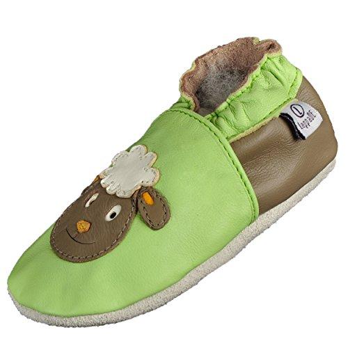 Lappade Schaf grün Lederpuschen Hausschuhe Krabbelschuhe Baby Schläppchen Lauflernschuhe Wildledersohle (Gr. 23/24 EU XL, Art. 308)