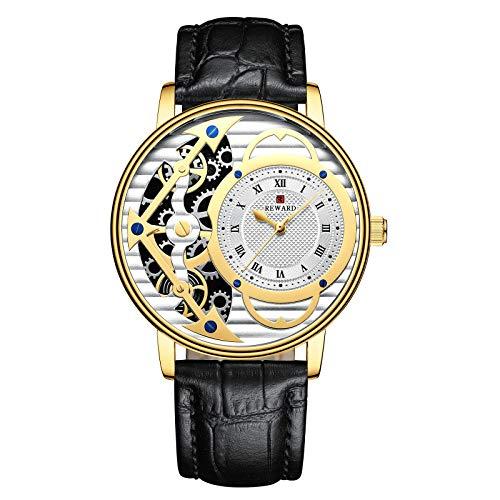 CHICAI Relojes de hombre de lujo oro ultrafino impermeable relojes de cuarzo para hombres oro masculino reloj de pulsera Relogio Masculino Dourado (color: Lea gold)