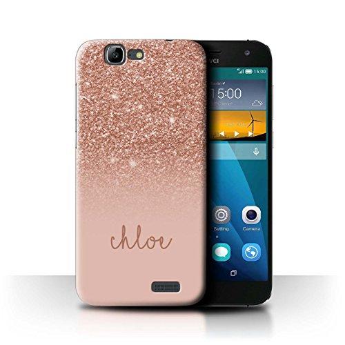 Stuff4 Personalizzato Effetto Glitterato Personalizzare Custodia/Cover per Huawei Ascend G7 / Oro Rosa Design/Iniziale/Nome/Testo Caso/Cassa