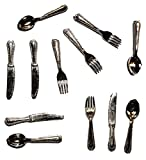 alles-meine.de GmbH Besteck Set 12 TLG. - Miniatur - Maßstab 1:12 - Messer Gabel Löffel Set / Küche Miniatur - für Puppenstube - Puppenstube Küche - Puppenstubenküche - Diorama -..