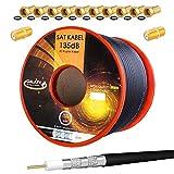 HB-Digital 50m 135dB Cable coaxial SAT Cobre puro PRO 5x Cable de antena coaxial negro blindado para sistemas DVB-S / S2 DVB-C y DVB-T BK + 10x conectores F chapados en oro Y 2x conectores F libres