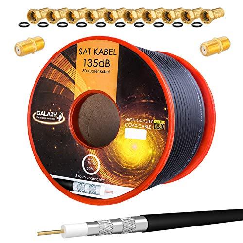 HB-Digital Set 50m Koaxial SAT Kabel 135db Schwarz + 10x F-Stecker & 2X F-Verbinder vergoldet | CU Kupfer Satellit Antennenkabel 5-Fach geschirmt für DVB-S/S2 -C/C2 -T/T2 DAB+ Radio BK Anlagen