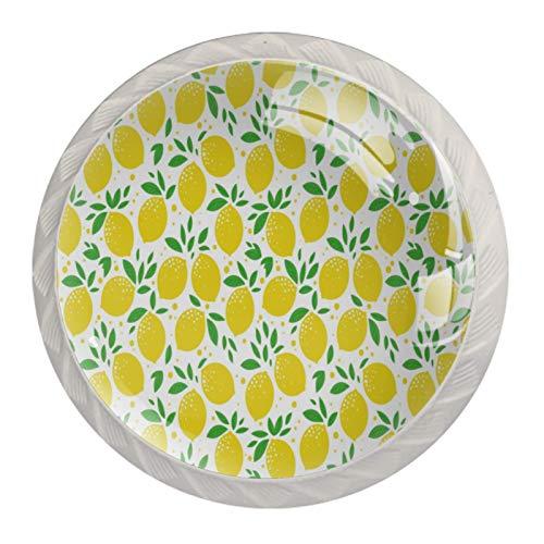 Pomos de cristal con patrón de follaje amarillo de limón para cajón, armario, armario, paquete de 4
