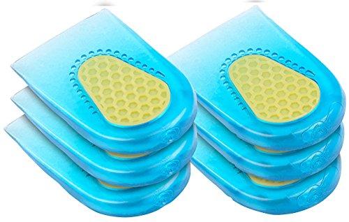 Newgen Medicals Schuheinlagen: 3 Paar dämpfende Fersenkissen aus Silikon-Gel, Einheitsgröße (Gelsohle)