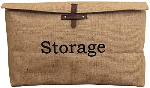 Swadal Caja de almacenamiento plegable de lona de yute para niños, con tapa, para debajo de la cama de juguetes (XL)
