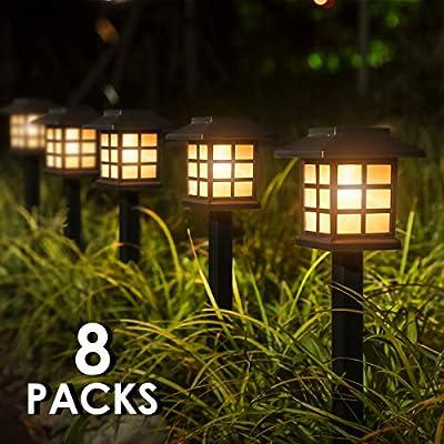 "YUNLIGHTS Upgraded Solar Stake Lights 8PCS, Solar Garden Ground Lights Pathway Lights Waterproof, 15""x3.35"" Solar Landscape Lights for Garden Path, Walkway, Lawn (Warm White)"
