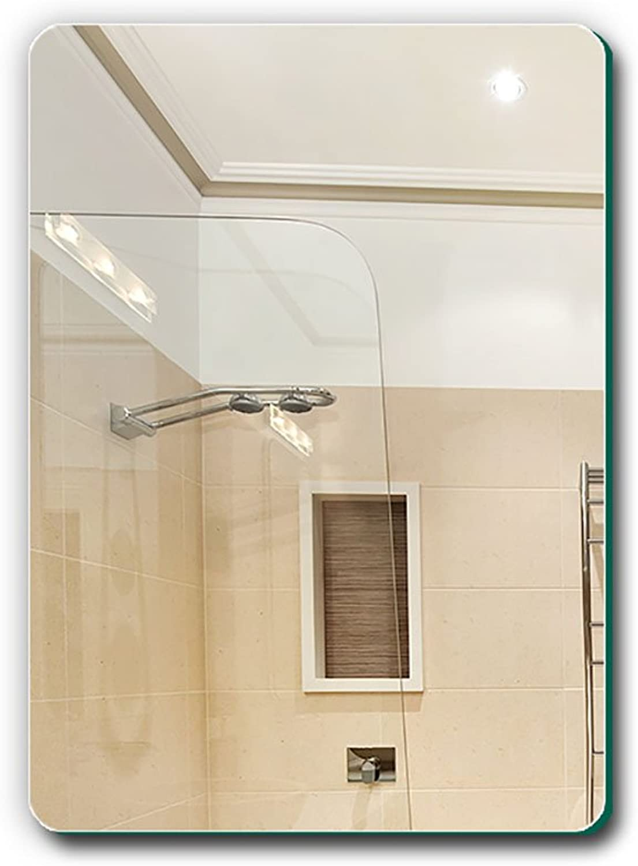 GUOWEI Mirror Frameless Rectangle High-Definition Wall Mounted Bathroom Makeup Silver (color   Silver, Size   A-60x40x0.4cm)