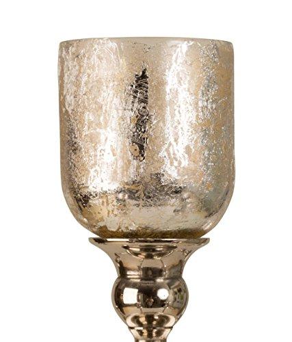 Geschenkestadl 5 x Glasaufsatz in Silber für Kerzenständer Windlicht Aufsatz