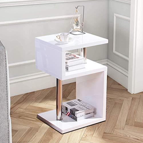 GOLDFAN Kleiner Hochglanz Sofa Beistelltisch Holz Moderner Design Rechteckiger Nachttisch Wohnzimmertisch für Schlafzimmer Wohnzimmer Büro, Weiß