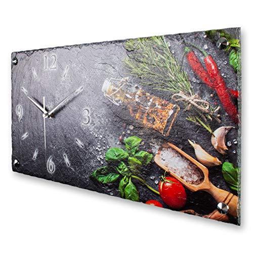 Kreative Feder Kräuter Luxus Designer Wanduhr Funkuhr aus Schiefer *Made in Germany leise ohne Ticken 50cm x 25cm WS368FL (leises Funkuhrwerk)