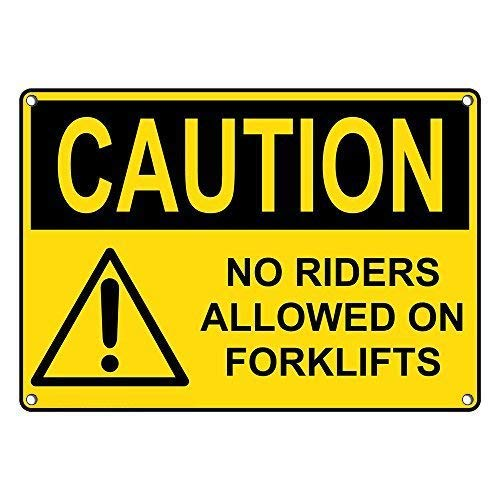 Metalen bord Grote Aluminium Tin Teken Voorzichtigheid Geen Riders Toegestaan Op Heftrucks Teken 12x16 inch