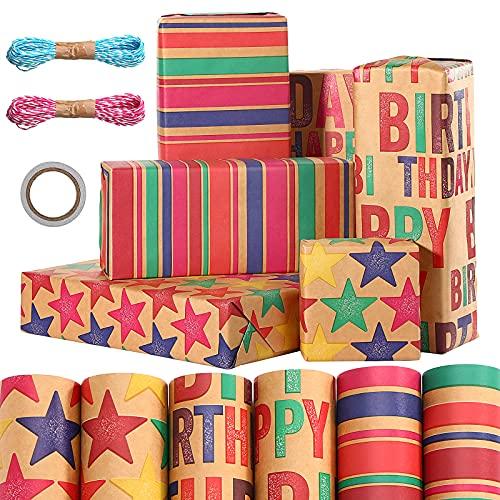 6 Rollo de Papel de Regalo Papel para Envolver Regalos Hojas de Papel de Regalo Cumpleaños, Olggu Bubu Papel de Regalo Kraft para Cumpleaños, Navidad con 2 Rollo Cinta+1 Cinta de Dos Lados,100x44cm