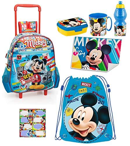 LTP Mickey Mouse Topolino Disney Set Zainetto Zaino Trolley, Sacca Sport, Porta Merenda Scuola Asilo Tempo Libero