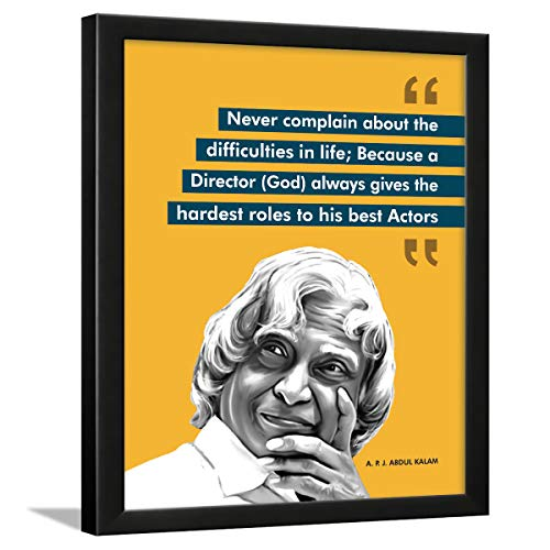 Chaka Chaundh - Abdul kalam photo frames for wall - motivational quotes frames - poster with frame - Abdul kalam poster for wall – Quotes wall frames - (34 x 27 x 4 cm) (APJ - Yellow)