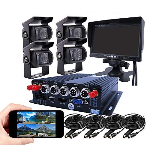 JOINLGO 4 Channel GPS 4G 1080P AHD Mobile Vehicle Car DVR MDVR Video Recorder Kit Real-time Monitor on PC Phone with 4 Metal Side Front Rear View IP69 Backup Car Cameras for Truck RV Bus Van