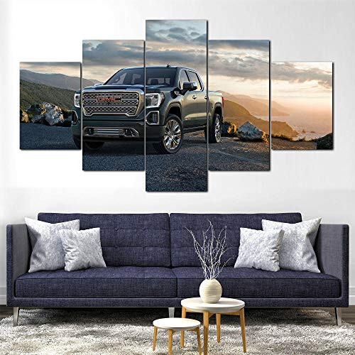 YOPLLL Cuadros De Lienzo Decoración para El Hogar 5 Piezas Paintings Wall Art Prints Modern Poster Modular Bed Background Gmc Sierra Denali Truck SUV Coche(Sin Marco)