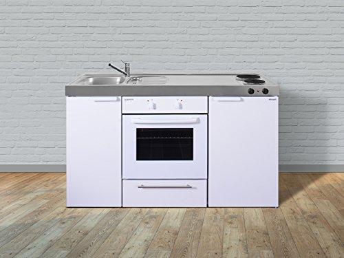 Stengel Miniküche Pantryküche Metallküche Küche 150cm weiss Metall Becken links