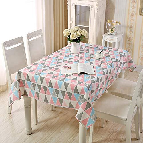 YDyun Adecuado para Cocinas Exteriores O Interiores Mantel Mesa Celosía Pastoral Simple de algodón y Lino
