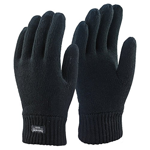 Thinsulate Hombres 3M Negro Térmicas Guantes de invierno forrado (L/XL)