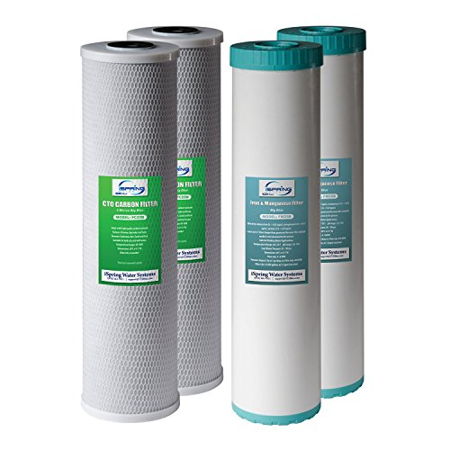 """iSpring F4WGB22BM 4.5"""" x 20"""" 2-Stage Whole House Water Filter Set Replacement Pack with CTO Carbon Block and Iron & Manganese Reducing Cartridges, Fits WGB22BM, White"""