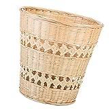 HEMOTON Papelera redonda de bambú tejida para residuos de mimbre, para baños,...