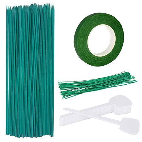 Hysagtek 50 Stück 40cm Pflanzstützen Grün Rankstäbe aus Bambus mit 30 Yard Grün Papier Klebeband, 50 Stück Garten Krawatten und 10 Stück Pflanzen Tags