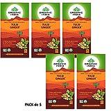 Organic India Infusión Tulsi Ginger (Jengibre) Pack de 5 (Cada paquete con 25 bolsas)