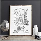 DXYM Lienzo Reloj mecánico Trabajo de Arte Dibujo Póster Decoración de Pared Impresión Vintage Plano Idea de Regalo Decoraciones de Imagen 40 * 60 cm sin Marco