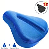 Blue Large Comfort Gel Bike Seat Cover, Wide Soft Pad Exercise Bike Seat Cushion, Wide Foam bicycle Seat Cushion, Fits Cruiser, Stationary Bikes, Outdoor Indoor (With Waterproof Bike Saddle Cover)