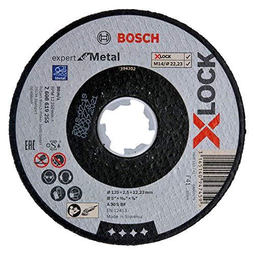 Bosch Professional gerade Trennscheibe Expert (für Metall, X-LOCK, Ø125 mm, BohrungsØ: 22,23 mm, Dicke:2,5 mm)
