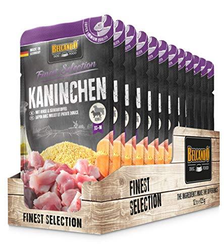 Belcando Frischebeutel [12x125g Kaninchen mit Hirse & Süßkartoffel] | Nassfutter für Hunde | Feuchtfutter Alleinfutter im Einzelportionsbeutel