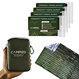 Campizo Emergency Blankets - Thermal Blanket, Space Blanket, Mylar Blanket, Survival Blanket, Foil Blanket, Designed by NASA, Extra Large and Wide for Camping, Hiking, Marathon, First Aid, Pack of 4