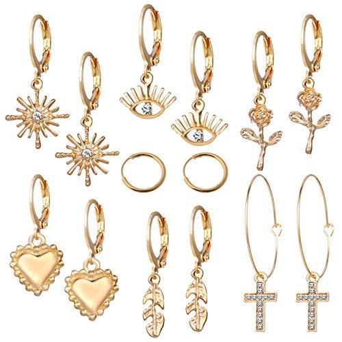 VEED 7 Pares de Pendientes de aro con Forma de corazón de Ojo Cruzado, Conjunto de Pendientes de Flores para Mujer, joyería