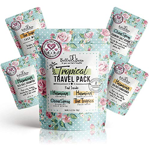 Bella & Bear Tropical Travel Pack, Self Care Kit, Includes Cruelty Free Shampoo, Conditioner, Body...