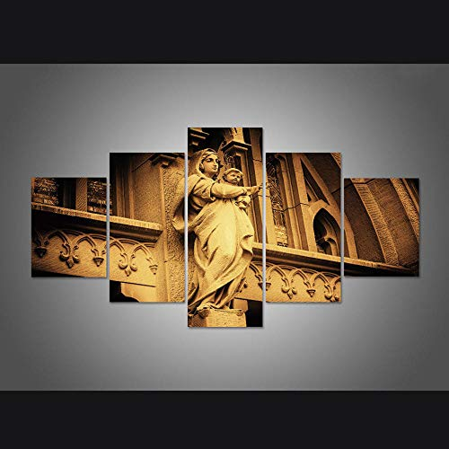 INFANDW Cuadro sobre Lienzo - 5 Piezas - Impresión en Lienzo - Ancho: 150cm, Altura: 80cm Virgen María Impresión en Lienzo 150X80cm Imagen Arte Pintura Foto Foto decoración del hogar
