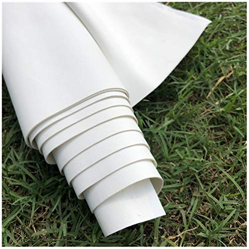 ZHhome Cuero de Imitación Tela Tela de Cuero Impermeable Elástico Material de Cuero Sintético Coche Tapizado Sofá Asiento de Coche Restaurado, Blanco (tamaño: 50x140 Cm)