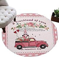 カーペット 円形 ラグマット バレンタイン 車 小人 ピンク ラブ じゅうたん シャギーラグ 絨毯 ふわふわ マイクロファイバー 防音 滑り止め付 床暖房 ホットカーペット対応 おしゃれ 直径 152cm