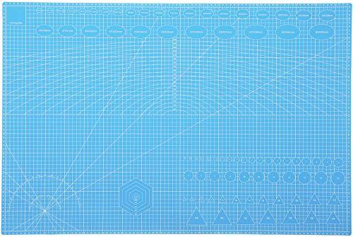 Rocoo カッターマット A1 A2 A3 A4 A5 カッティングマット 5層シート構造 両面印刷 傷自動癒合機能 3mm厚さ グリーン プラモデル用工具 下敷き デスクトップ保護 (スカイブルー, A1(縦600×横900×厚さ3mm))