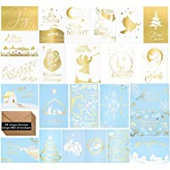 24 Religious Christmas Cards -Elegant Religious Christmas Cards in 24 Unique Gold Designs- Religious Christmas Greeting Cards -Beautiful Religious Christmas Cards With 24 Kraft Envelopes- 4 x 6 inches