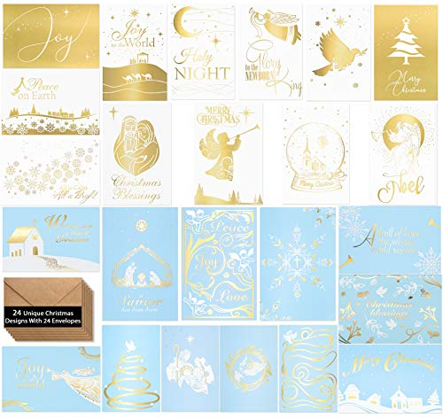 24 Religious Christmas Cards -Elegant Religious Christmas Cards�in 24 Unique Gold Designs- Religious Christmas Greeting Cards -Beautiful Religious Christmas Cards With 24 Kraft Envelopes- 4 x 6 inches